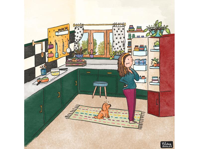 Kitchen raids design doodleart doodles doodling illustrator hungry food kitchen art illustration family dog colors comic