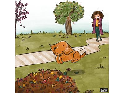 Fall 2020 art doodling comic colors dogs illustration fall colors autumn leaves fall autumn family dog
