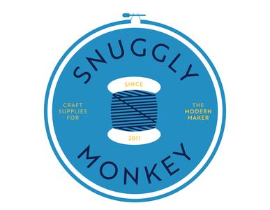 Snuggly Monkey Draft 2 craft logo embroidery illustrations icon brand branding design custom drawing logo illustration drawing vector