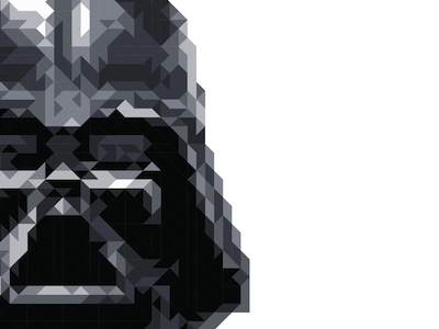 The Force darth vader star wars triangles geometric pixelated squares grid black and white graphic