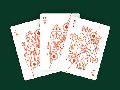 Diamond Trio design graphic line illustration linework geometric art playing cards deck of cards cards design cards jack king queen diamond