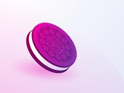Oreooooo, oooooooh! design illustration graphic dessert vector snack cookie oreo gradient gradient illustration
