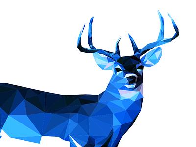 Winter Deer winter blue deer geometric facet triangle illustration animal cold