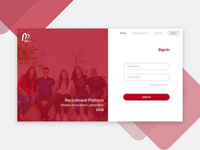Login Form - Recruitment Web Platform recruitment page form web login