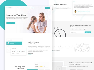 Readydok Landing Page service bootstrap layout ux website doctor landing page