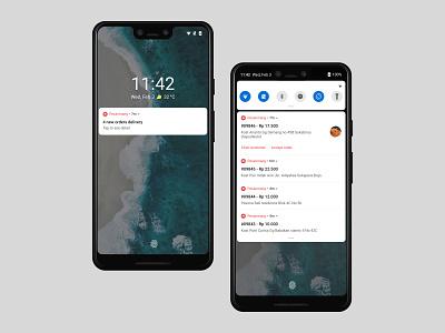 Pesanmang - Notification Panel order food android notification center notifications onboarding mobile marketplace ecommerce