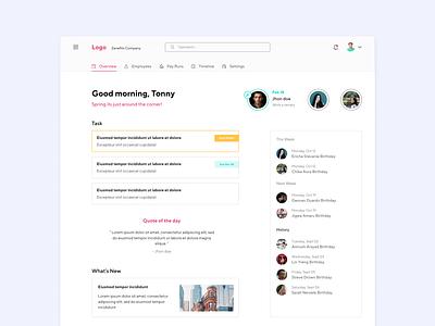 Dashboard HR Management news feed task management task list birthday web design clean dasboard management dashboard website