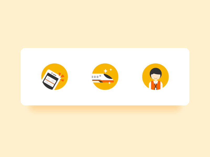 Icon Design character icons set flat design illustration high speed rail icons
