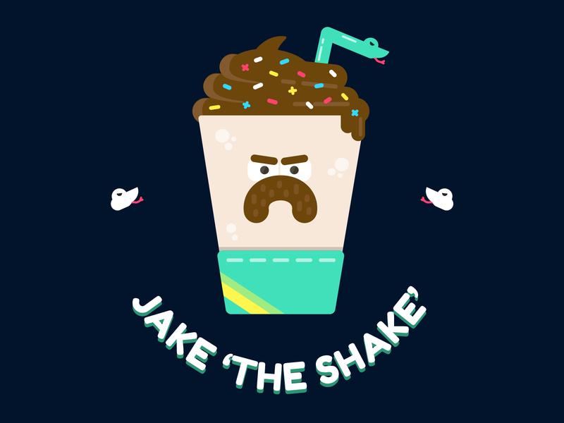 Jake 'The Shake' Roberts milk wrestler 2d vector character dessert 80s chocolate shake milkshake jake the snake snake jake wrestling wwe wcw wwf retro