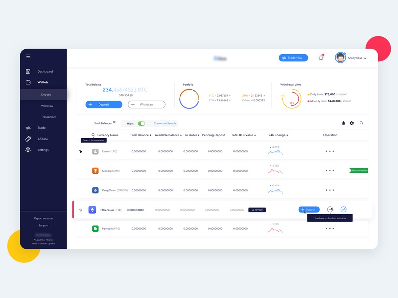 Dashboard   CryptoCurrency financial crypto exchange deposit withdraw blockchain cryptocurrency crypto wallet