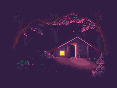 Forest hut - illustration witcher vikings illustration night forest magic house hut