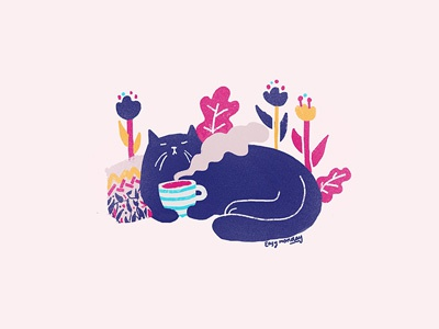 tea-drinking cat - illustration