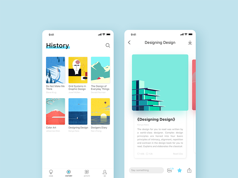 Piece - Read app 02 clean blue white visual ux ui icon home design concise app read