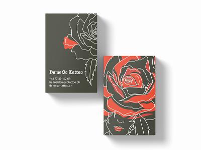 Tattoo artist - Business Cards red minimal pattern graphicdesign green artist tattoo rose businesscard business card illustration digital illustration branding logo drawing graphic design