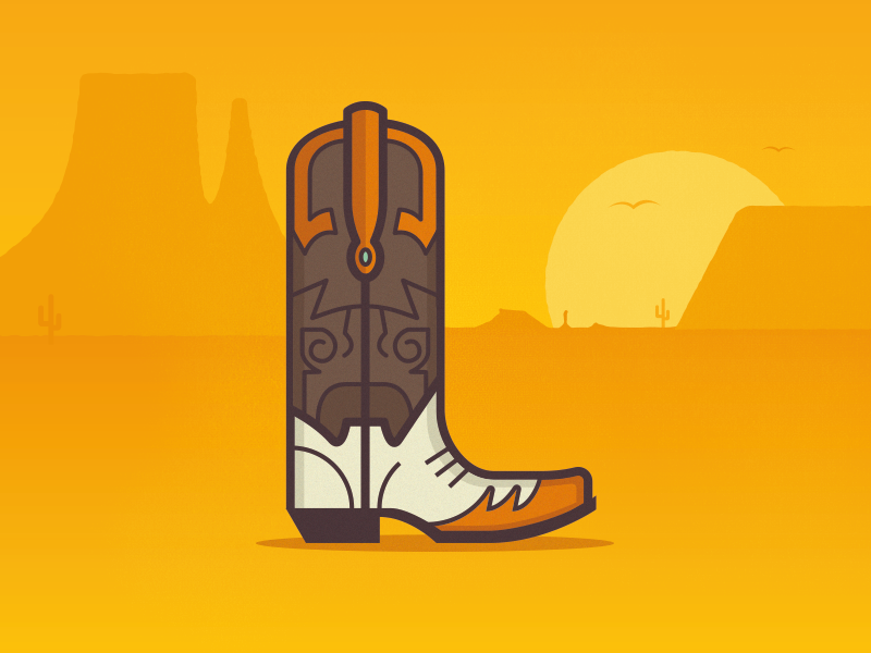 L - 36 Days of Type illustration flat typography lettering type 36daysoftype 36days-l boots boot cowboy desert western