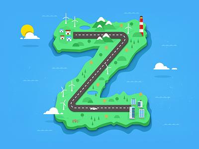 Z - 36 Days of Type flat illustration lettering type 36daysoftype letterform letter z island commute