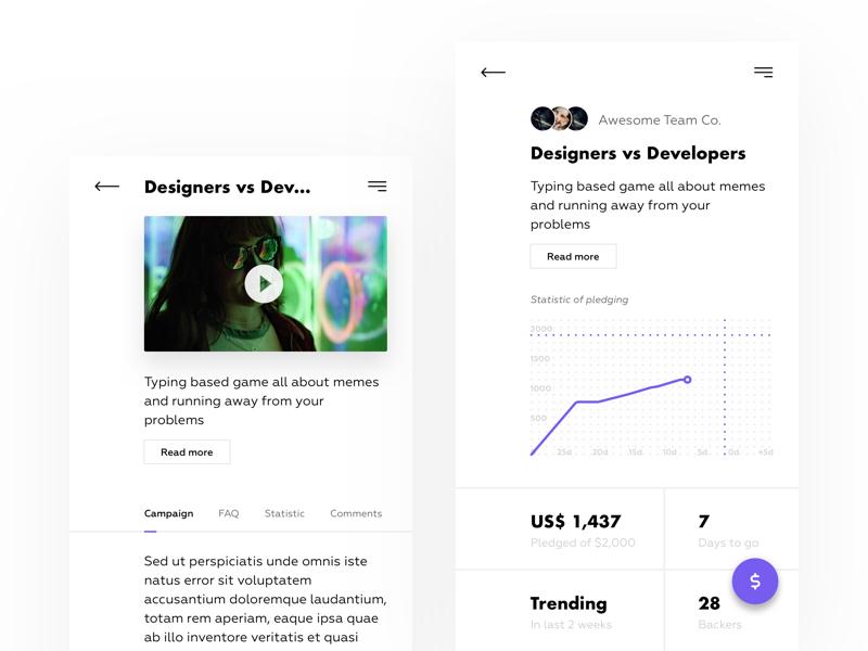 Daily UI challenge #32 — Crowdfunding Campaign day32 crowdfundingcampaign crowdfunding uiux ux ui web uidesign uichallenge userinterface userexperience dailyui
