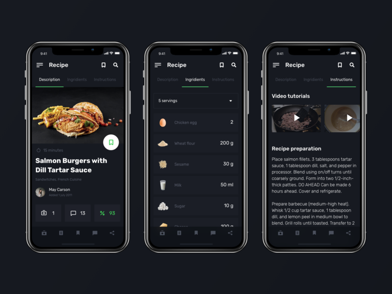 Daily UI challenge #40 — Recipe web interface userexperience userinterface challenge uidesign uichallenge design black food app product mobile recipe day40 daily40 dailyui uiux ux ui