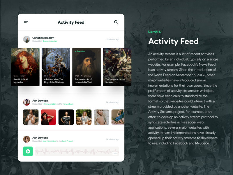 Daily UI challenge #47 — Activity Feed feed activity feed activity white vector typography sketch app uiux product interface web userexperience uichallenge userinterface design dailyui ux ui 47