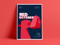 Red October red typography illustration fanart red alert game night poster series poster design poster art