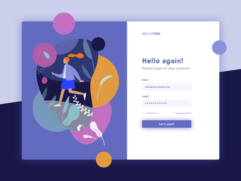 HelloYou - Login Page by Magda Rolka on Dribbble