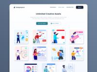Designspace.io Library Web App app design app branding ux ui vector design landing dashboard graphic icon marketing mail flat website header onboarding illustration