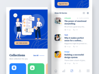 Bacao – News UI Kit medium article newsfeed news app vector ux typography ui design landing dashboard graphic icon marketing mail website header onboarding illustration