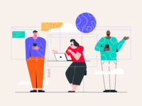 Better Workspace and Collaboration Illustration logo design branding crm ux typography campaign data vector icon ui landing dashboard graphic marketing mail flat website header onboarding illustration