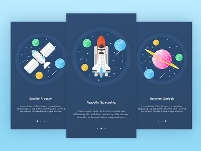 Space Program homescreen space apollo rocket onboarding design vector flat illustration