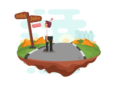 Job seeker illustration website interface employee work bussiness vector job illustration