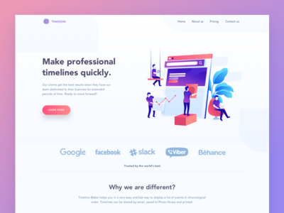 Timeline maker Landing Page data management analytic icon onboarding workspace team schedule timeline websire pafe landing