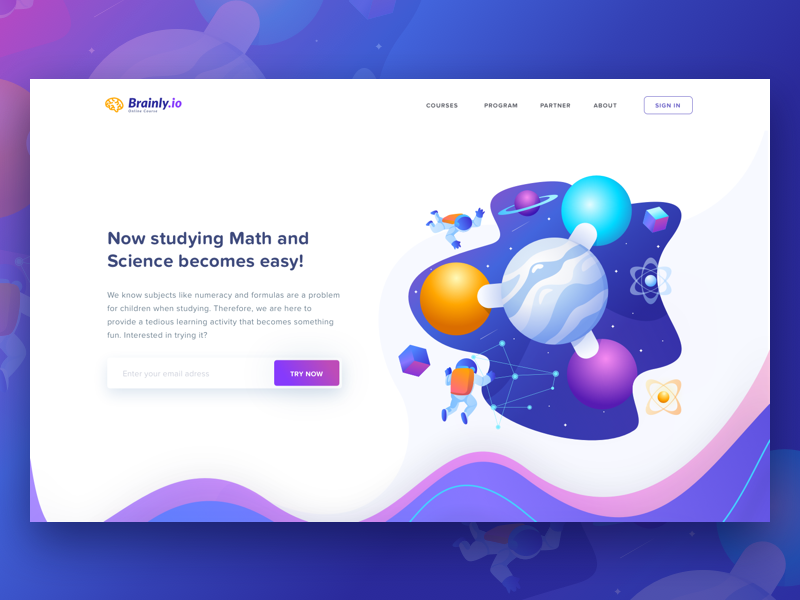 E-Learning Platform Header math science children school lesson gradient illustration header page landing study learning