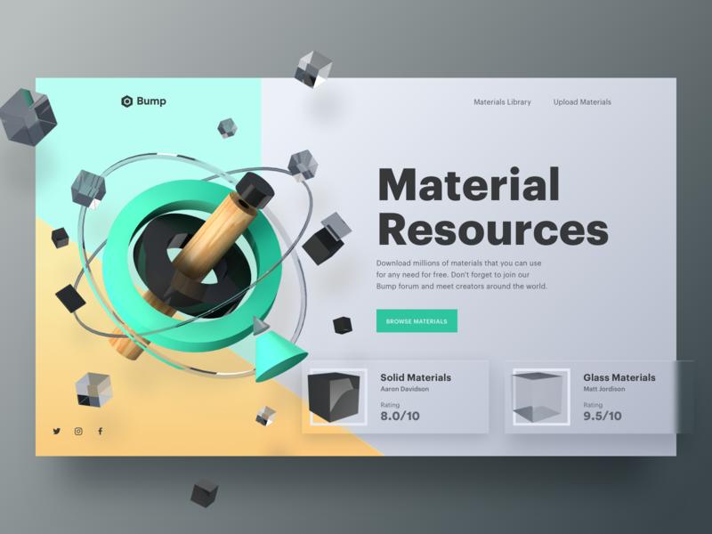 Material Resource Header Concept onboarding design product card resource material header website illustration