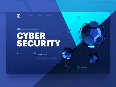 Cyber Security Header Design product features security cybersecurity data design 3d exploration website header illustration