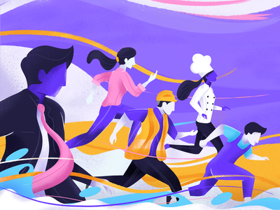 Happy Labor Day. people worker labor flat vector design graphic onboarding header website procreate illustration
