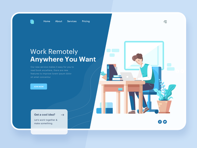 Working Remotely Header Illustration product startup meeting scrum vector icon graphic marketing flat mail website header onboarding illustration