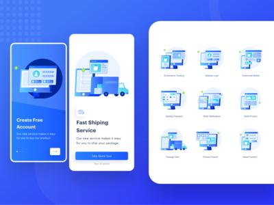 E-commerce Mobile Onboarding Illustration