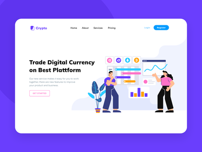 Cryptocurrency Header Illustration bitcoin cryptocurrency branding vector ui dashboard flat mail website header onboarding illustration