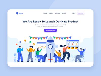 Launch Page Illustration branding design vector graphic marketing flat website header onboarding illustration