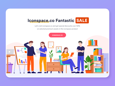 Iconspace SALE, Discount Up to 50% promotion sale discount promo dashboard landing icon graphic flat marketing mail website header onboarding illustration