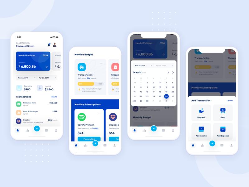 Banky - Dashboard Design ui kit android ios calendar payment app design application banking app ux branding dashboard illustration icon marketing design ui onboarding
