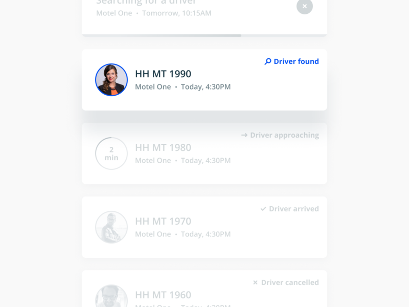 Booking Cards booking figma web mobile mytaxi b2b product design design ux interface ui