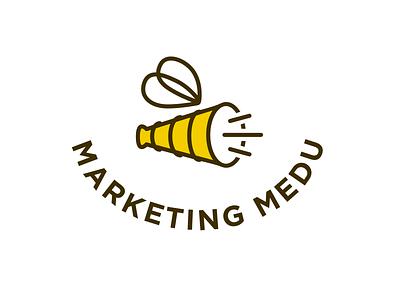 Honey marketing yellow branding identity site website logo logotype megaphone bee marketing honey