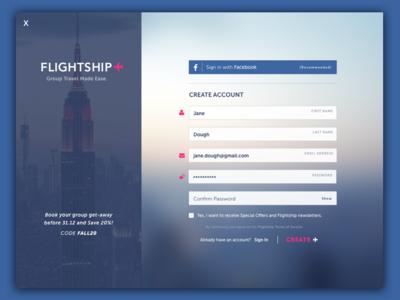 Flightship Signup Page 001 dailyui form signup