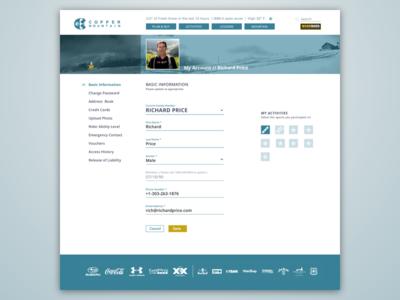 Copper Mountain Website ~ Settings Page dailyui settings 007