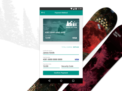 REI Android Credit Card Form credit card form dailyui 002