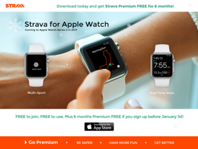 Strava for Apple Watch Landing Page landing page dailyui 003