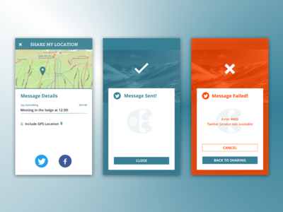 Copper Mountain Mobile Web ~ Share & Messaging share social message flash dailyui 011 010