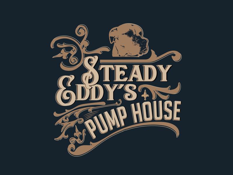 Logo Design for Steady Eddy's Pump House inspiration music drinks restaurant cafe logo cafe bar floral dog illustration dog old school hipster retro design retro vintage vintage badge design poster typography logo