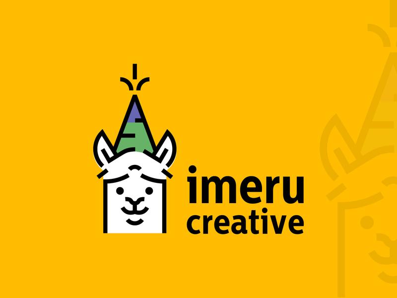 Llama Logo design for Imeru Creative llamas layout circular grid golden ratio imeru creative party hat adorable cute line animation line art logo design llama design illustration logo creative